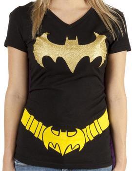 Ladies Batman Caped V-Neck Shirt