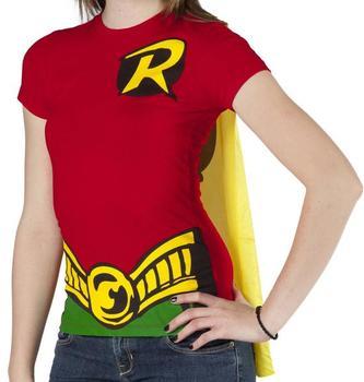 Ladies Robin Caped Costume Shirt