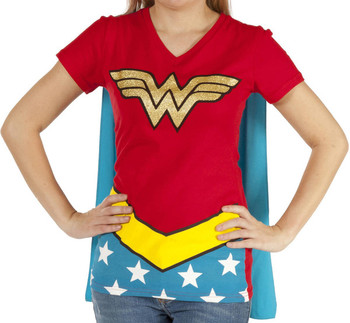 Wonder Woman Caped V-Neck Shirt