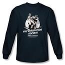 Abbott & Costello Long Sleeve Shirt Off Your Rocker Navy Tee T-Shirt