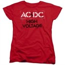 ACDC Womens Shirt High Voltage Red T-Shirt