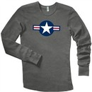 Air Force Thermal Shirt Long Sleeve Aircraft Insignia Heather Grey