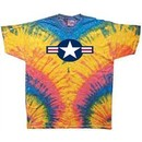 Air Force Shirt Star Aircraft Insignia Woodstock Tie Dye Tee T-shirt