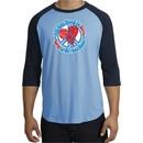 Peace Sign Shirt All You Need Is Love Raglan Tee Carolina Blue/Navy