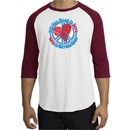Peace Sign Shirt All You Need Is Love Raglan Tee White/Cardinal