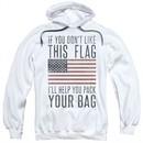 American Flag Hoodie Pack Your Bag White Sweatshirt Hoody