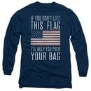 American Flag Long Sleeve Shirt Pack Your Bag Navy Tee T-Shirt