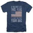 American Flag Shirt Pack Your Bag Heather Navy T-Shirt