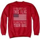 American Flag Sweatshirt Pack Your Bag Adult Red Sweat Shirt