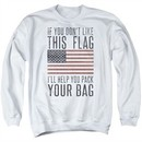 American Flag Sweatshirt Pack Your Bag Adult White Sweat Shirt
