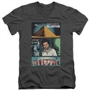 Ancient Aliens Slim Fit V-Neck Shirt Comic Page Charcoal T-Shirt