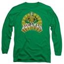 Aquaman Long Sleeve Shirt Hands On Hips Kelly Green Tee T-Shirt