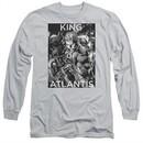 Aquaman Long Sleeve Shirt King Of Atlantis Silver Tee T-Shirt