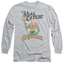 Aquaman Long Sleeve Shirt Real Catch Silver Tee T-Shirt