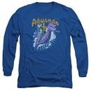 Aquaman Long Sleeve Shirt Ride Free Royal Blue Tee T-Shirt