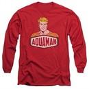 Aquaman Long Sleeve Shirt Sign Red Tee T-Shirt