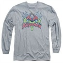 Aquaman Long Sleeve Shirt Splish Splash Athletic Heather Tee T-Shirt