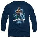 Aquaman Long Sleeve Shirt Water Powers Navy Tee T-Shirt