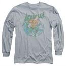 Aquaman Long Sleeve Shirt Wave Athletic Heather Tee T-Shirt