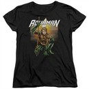 Aquaman Womens Shirt Beach Sunset Black T-Shirt