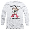Astro Boy Long Sleeve Shirt Who Needs Pants White Tee T-Shirt
