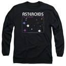 Atari Long Sleeve Shirt Asteroids Screen Black Tee T-Shirt