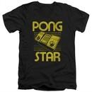 Atari Slim Fit V-Neck Shirt Pong Star Black T-Shirt