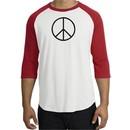 Peace Sign T-shirt Basic Peace Black Print Raglan Shirt White/Red