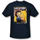 Betty Boop T-shirt Power Adult Navy Blue Tee