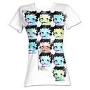 Betty Boop Juniors T-shirt Warhol-Esqe Faces White Tee Shirt