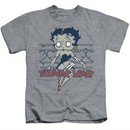 Betty Boop Kids Shirt Zombie Pinup Athletic Heather T-Shirt