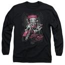 Betty Boop Long Sleeve Shirt Biker Babe Black Tee T-Shirt