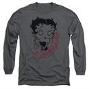 Betty Boop Long Sleeve Shirt Classic Zombie Charcoal Tee T-Shirt