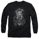 Betty Boop Long Sleeve Shirt Fashion Roses Black Tee T-Shirt