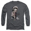 Betty Boop Long Sleeve Shirt Out Of Control Charcoal Tee T-Shirt
