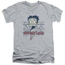 Betty Boop Slim Fit V-Neck Shirt Zombie Pinup Athletic Heather T-Shirt