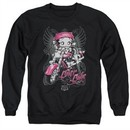 Betty Boop Sweatshirt Biker Babe Adult Black Sweat Shirt
