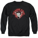 Betty Boop Sweatshirt Heart You Forever Adult Black Sweat Shirt