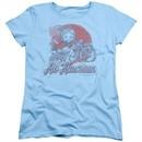 Betty Boop Womens Shirt All American Biker Light Blue T-Shirt