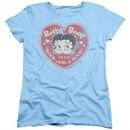 Betty Boop Womens Shirt Fan Club Heart Light Blue T-Shirt