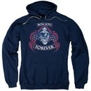 Bon Jovi Hoodie Forever Skull Navy Blue Sweatshirt Hoody