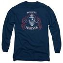 Bon Jovi Long Sleeve Shirt Forever Skull Navy Blue Tee T-Shirt