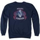 Bon Jovi Sweatshirt Forever Skull Adult Navy Blue Sweat Shirt