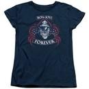 Bon Jovi Womens Shirt Forever Skull Navy Blue T-Shirt