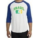 Brazil Soccer Shirt Futbol Raglan T-Shirt White/Royal
