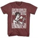 Bruce Lee Shirt Jun Fan Gung Fu Institute Heather Maroon T-Shirt