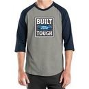 Built Ford Tough Shirt Logo Mens Heather Grey/Navy Raglan Tee T-Shirt