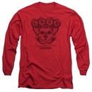CBGB Shirt The Moth Skull Long Sleeve Red Tee T-Shirt