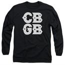CBGB Shirt The Stacked Logo Long Sleeve Black Tee T-Shirt