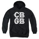 CBGB Youth Hoodie Stacked Logo Black Kids Hoody